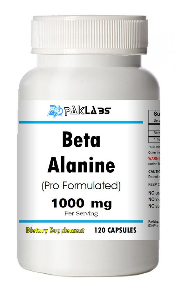 Beta-Alanine Capsules 1000mg, 120 Capsules High Potency HUGE BOTTLE = SALE =