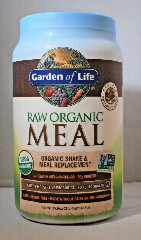 Garden Of Life Raw Meal Chocolate 35.9oz Gluten Free Meal Replacement Lot of (2) 1