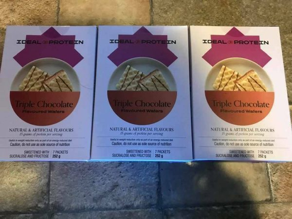 Ideal Protein 3 boxes of Triple Chocolate Wafers 7 packets per box 15g protein