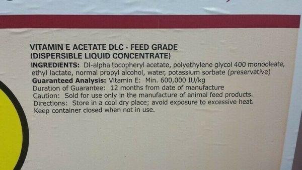 Adisseo Microvit E DLC 60 HF Vitamin E Acetate DLC Feed Grade Liquid -2.5 Gal 1
