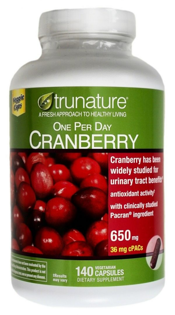 Trunature Cranberry 650mg Capsules with Pacran One-Per-Day Veggie Caps 140 Count