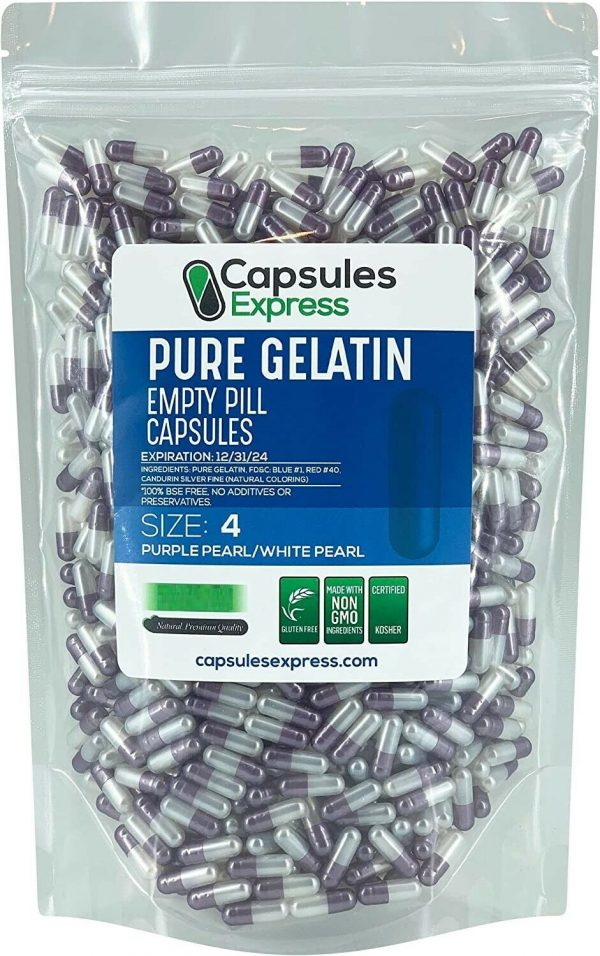 Capsules Express- Size 4 Purple Pearl & White Pearl Empty Gelatin Capsules Pills