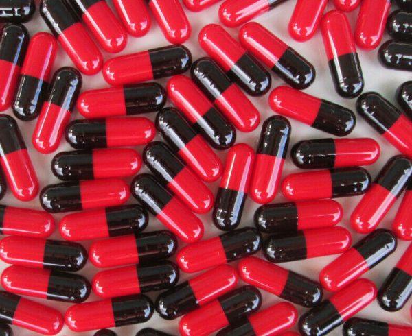 Black/Red Gelatin Capsules Size 00* 1