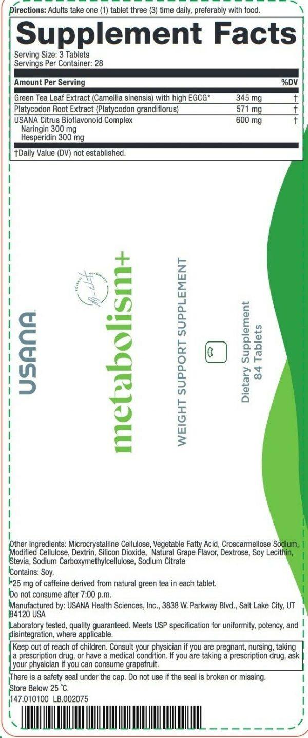3 Bottles USANA Metabolism+/ Weight support supplement 3