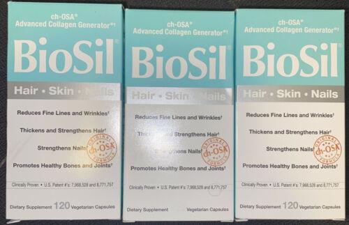Lot of 3 New Natural Factors Biosil 120 Capsule bottles -- 360 capsules total