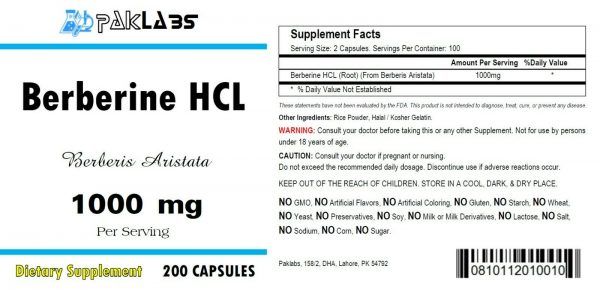 Berberine HCL 1000mg High Potency 1-3 BIG Bottles 200/400/600 Capsules USA SHIP 1