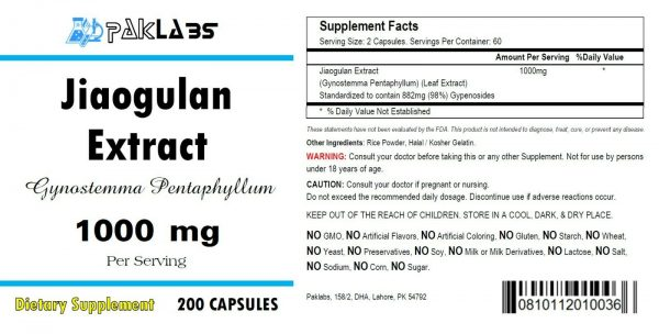 Jiaogulan Extract ( xiancao ) 1000mg 200 Capsules Gynostemma Pentaphyllum Bottle 1