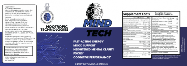 5 Bottles - Mind Tech Nootropic Mindtech Brain Booster Focus Supplement 300Caps  1