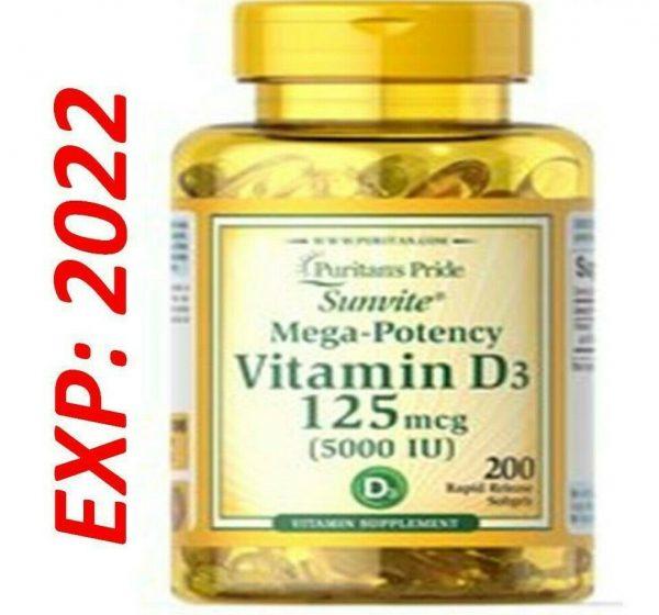 Vitamin D3 D 5000IU 12X200=2400 Softgel Mega-Potency Max Strength USA 2022 Whole 2