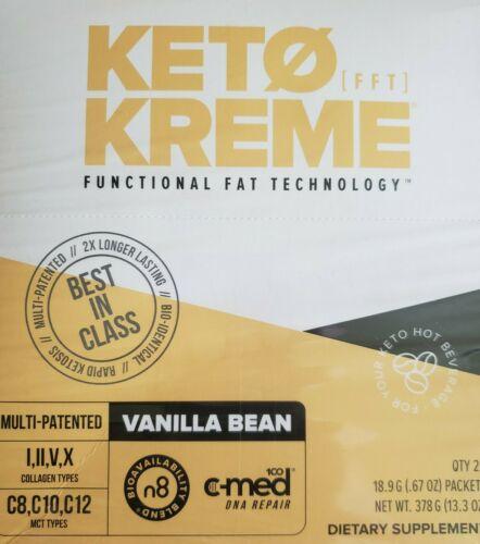 Pruvit Keto Kreme 20 Packs VANILLA BEAN- New BOX exp 2022 ketones