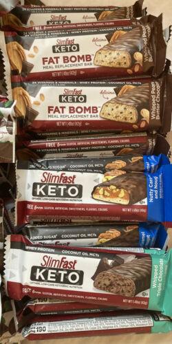 80 SlimFast Keto Meal Bars & Fat Bomb Snacks, Chocolate, Mint, Cheese Read Desc 3