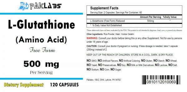 L-Glutathione Amino Acid 500mg Serving High Potency 120 Capsules HUGE Bottle USA 1
