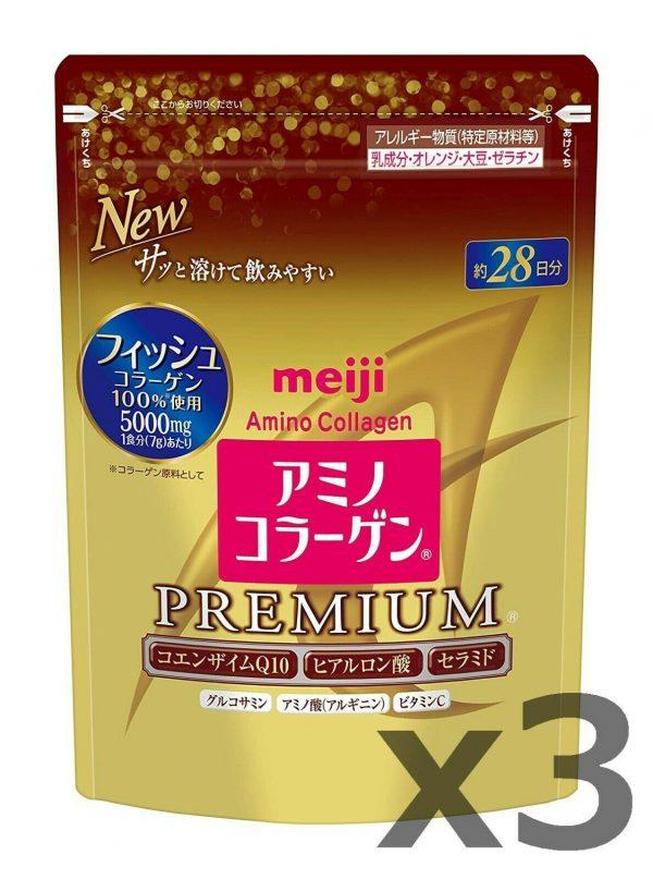 NEW 3 Gold Pack! Meiji PREMIUM Amino Collagen powder, 28days (196g) x 3 refills!