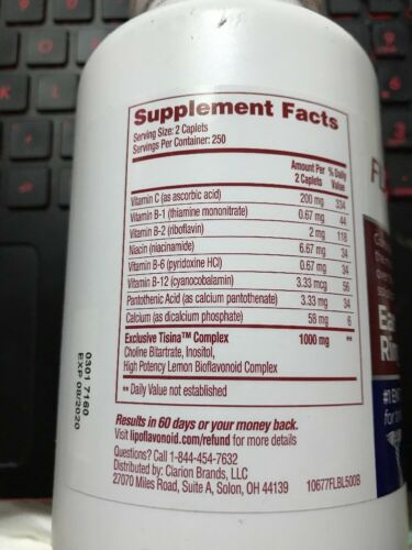 1 Bottle of Brand New Lipo-Flavonoid Plus (Ear Health Formula) 500cts EXP03/2023 2