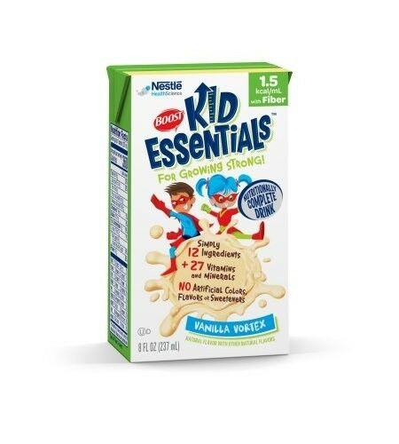 Boost Kid Essentials w/ Fiber 1.5 Cal, Vanilla Vortex, 8 Ounce - Case of 27