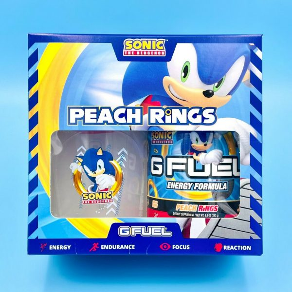 G Fuel Sonic Peach Rings Collector's Box Tub + Shaker Cup + 2GO Scooper Energy