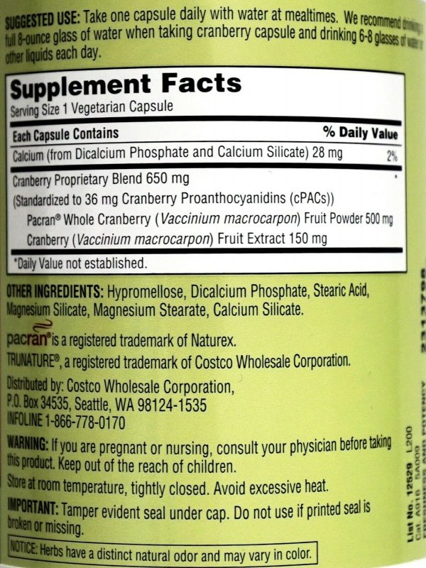 Trunature Cranberry 650mg Capsules with Pacran One-Per-Day Veggie Caps 140 Count 2