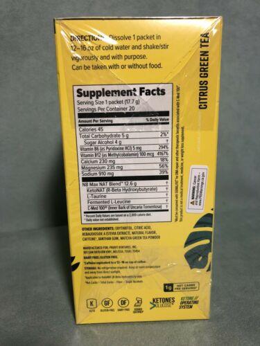 Pruvit NAT Ketones New CITRUS GREEN TEA Charged New Sealed Box 20 Pack Exp 10/22 2