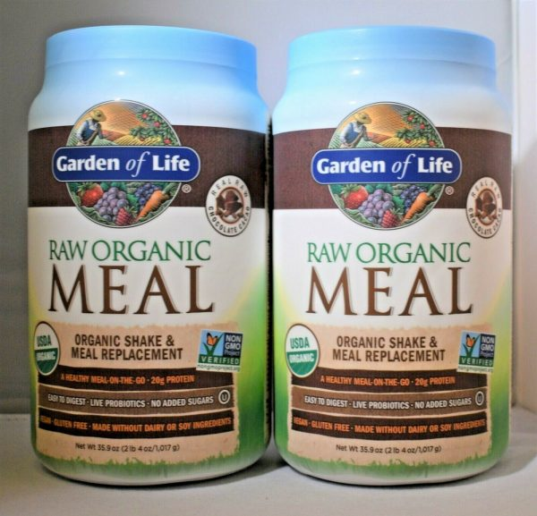 Garden Of Life Raw Meal Chocolate 35.9oz Gluten Free Meal Replacement Lot of (2)