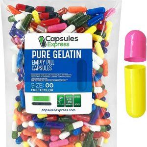 Capsules Express Size 00 Multi-Color Empty Gelatin Capsules Pill Kosher Pill Cap