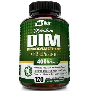 DIM Supplement 400mg with BioPerine, 120 Capsules - Menopause, PCOS, Acne, Skin 1