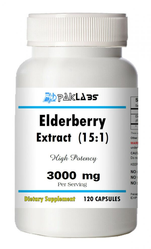 Elderberry Extract 15:1 High Potency 15 times Stronger 3000mg 120 CAPSULES