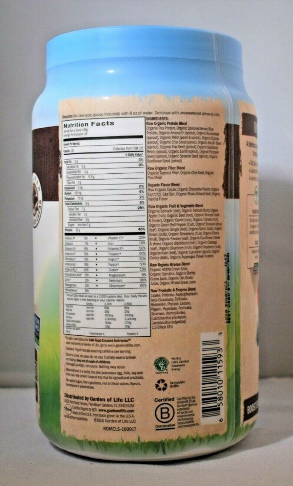 Garden Of Life Raw Meal Chocolate 35.9oz Gluten Free Meal Replacement Lot of (2) 2