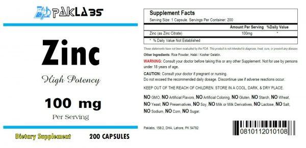 ZINC - 100 mg 100mg Serving Immune Support High Potency Big Bottles 120-600 Caps 1