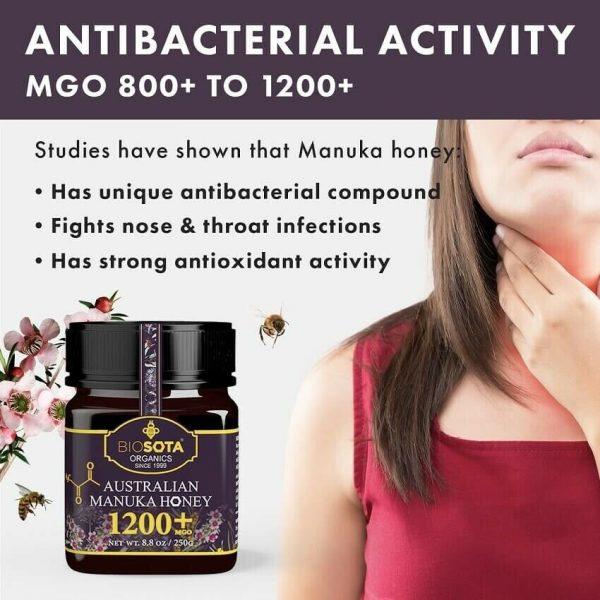 Biosota Organics-Manuka Honey MGO 1200+ 250g (Last Chance) 4