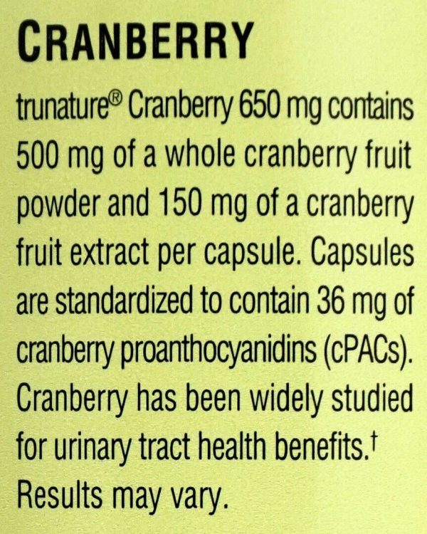 Trunature Cranberry 650mg Capsules with Pacran One-Per-Day Veggie Caps 140 Count 1