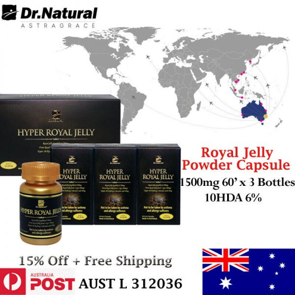 Immune Energy booster - Dr Natural Royal Jelly Powder 1500mg 10HDA 6% 180caps.
