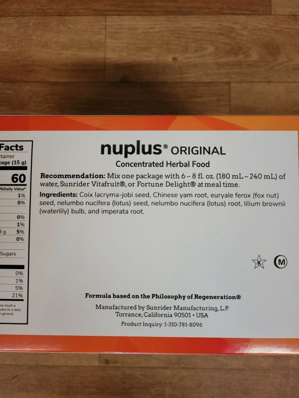 NO BEAN    SUNRIDER NUPLUS ORIGINAL  No Beans   60 BAGS 3