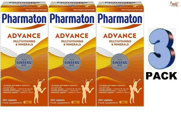 3 (THREE) PACK PHARMATON ADVANCE 100 Caplets (containing Unique Ginseng G115)