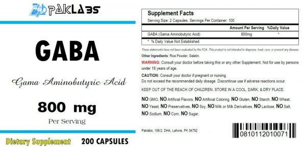 GABA Gama Aminobutyric Acid 800mg 1/2/3 Bottles 200/400/600 Capsules FREE SHIP 1