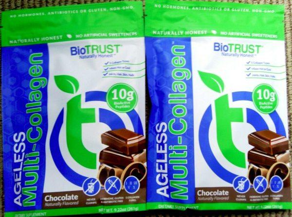 LOT OF 4!~BioTrust Ageless Multi Collagen Chocolate Powder Mix 261g PER BAG 2023