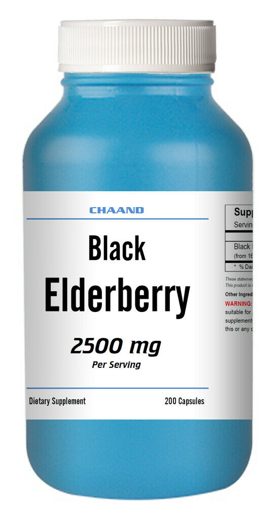 Black Elderberry Capsules 2500mg 200 Pills, Immune Support, Non-GMO, Gluten Free