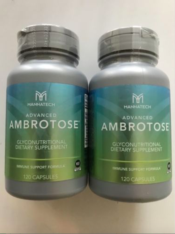 Brand New 2 Bottles of Mannatech ADVANCED AMBROTOSE 120 Caps