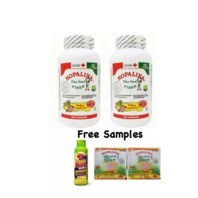 2 Pck Nopalina Flax Seed Plus Fiber 240 CAP /Free Samples Nopalina & Detox Juice
