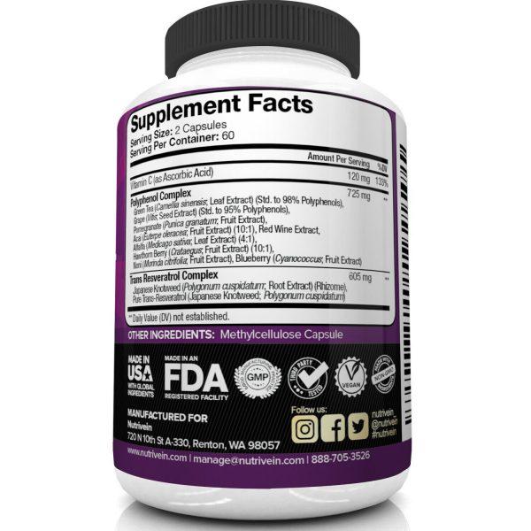 Nutrivein Resveratrol 1450mg - 120 Capsules - Anti-Aging Antioxidant Supplement 4