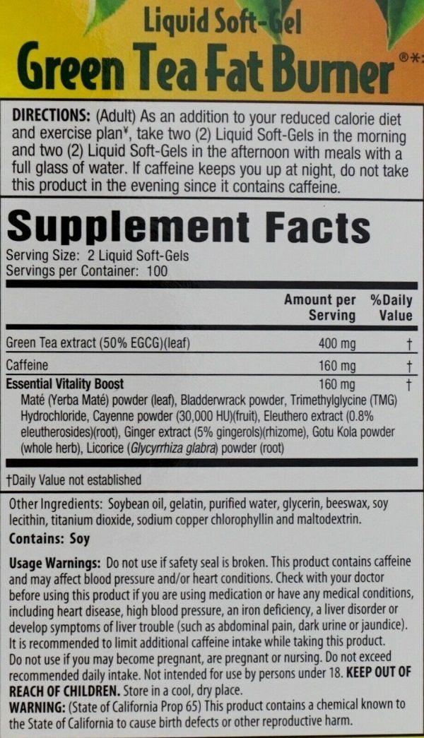 Green Tea Fat Burner 400mg EGCG Maximum Strength, 200 400 or 600 Liquid Soft-Gel 3