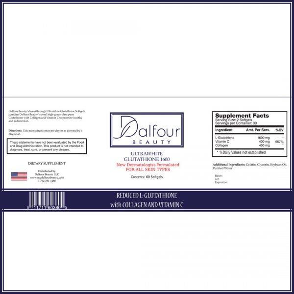 Dalfour Beauty Ultrawhite Glutathione Whitening Pills w/ Collagen and Vitamin C 1