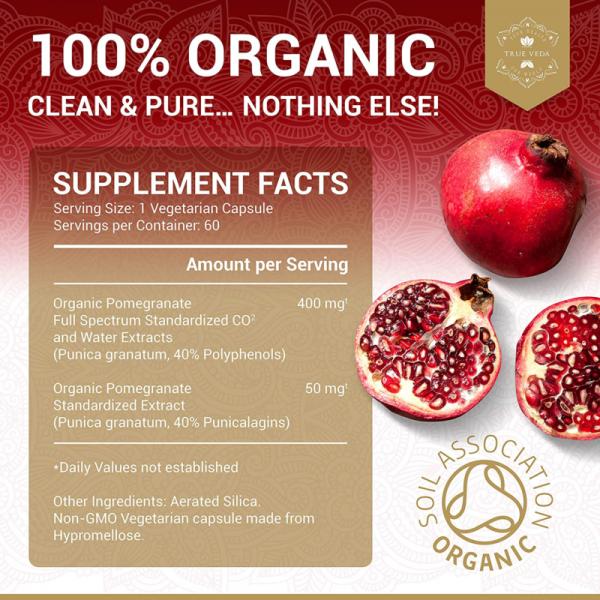 2 Bottles POMEGRANATE Supplement Antioxidant Blood Pressure Support TRUE VEDA 8