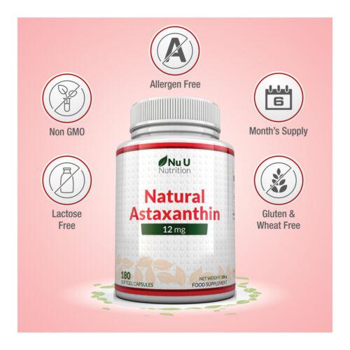 Astaxanthin 12mg - 4 x 180 Softgels (6 Month Supply) High Strength astaxanthin 4