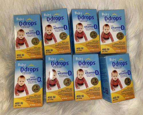 8x Ddrops Liquid Vitamin D3 400 IU 60 Drops 2.5 mL Exp 08/2022+
