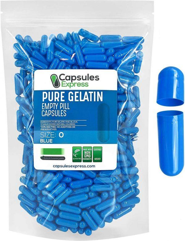 Capsules Express- Size 0 Blue Empty Gelatin Capsules Gelcaps Kosher DIY Caps Gel
