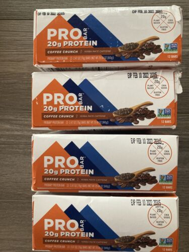 4 boxes/48 bars PROBAR Protein Bar Coffee Crunch 20g protein, exp 2/10/2022   3