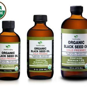 Black Seed Oil - 100% Pure Organic Cold Pressed Cumin Nigella Sativa USDA Fresh