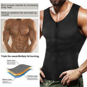 Men's Sweat Sauna Waist Trainer Zip Vest Weight Loss Top Neoprene Body Shaper US 1