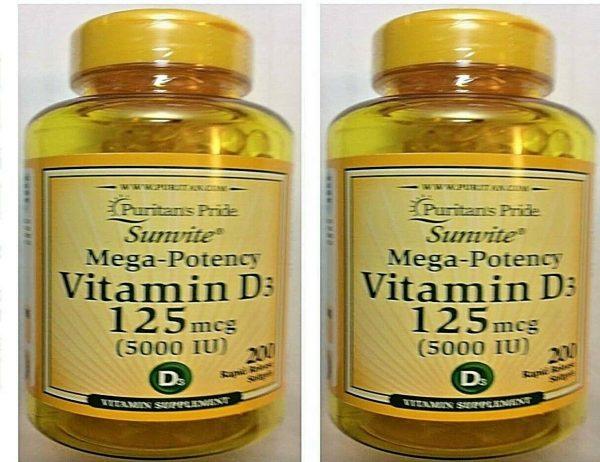 Vitamin D3 D 5000IU 12X200=2400 Softgel Mega-Potency Max Strength USA 2022 Whole 8