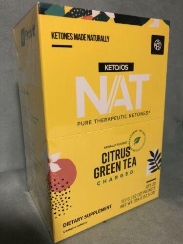 Pruvit NAT Ketones New CITRUS GREEN TEA Charged New Sealed Box 20 Pack Exp 10/22 1